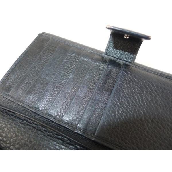 【中古】 クリスチャンディオール エスニック 二つ折り 長財布 レザー ブラック