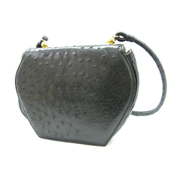 GUCCI グッチ チェーンショルダーバッグ オーストリッチ(ダチョウ革) ブラック×ゴールド金具