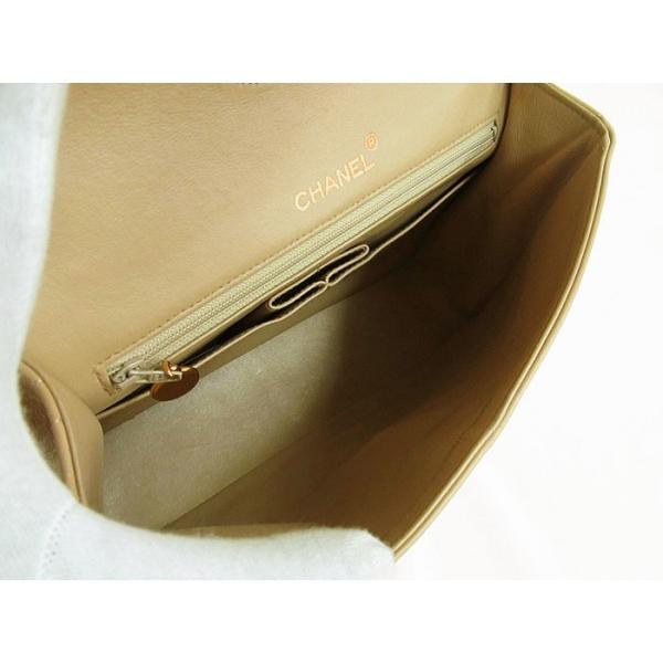 CHANEL シャネル マトラッセ Wチェーン フラップショルダーバッグ ラムスキン ベージュ×ゴールド金具