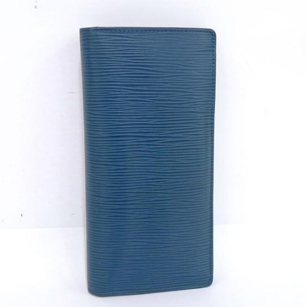 【中古】ルイヴィトン ポルトフォイユブラザ 二つ折り長財布 エピ ブルーエレスト(青) M60616[ic]
