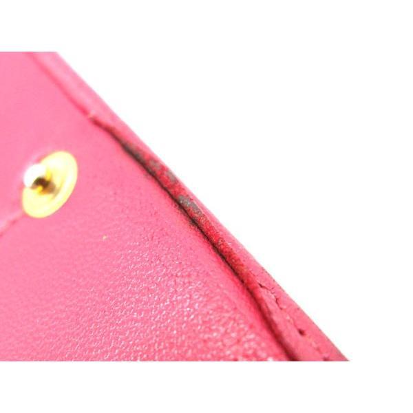 LOEWE ロエベ アマソナ 二つ折り長財布 ファスナー式小銭入れ レザー×ゴールド金具 ピンク