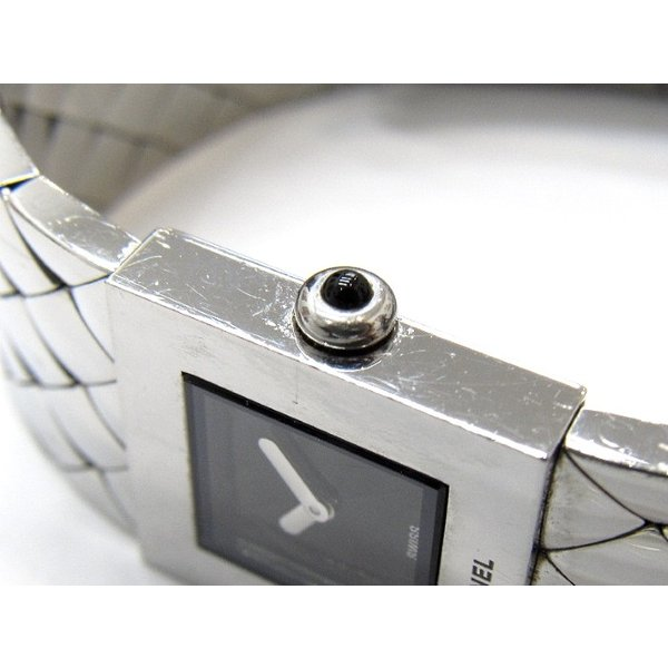 【中古】シャネル マトラッセ バングルウォッチ レディース腕時計 クオーツ 文字盤ブラック SS H0009[st]