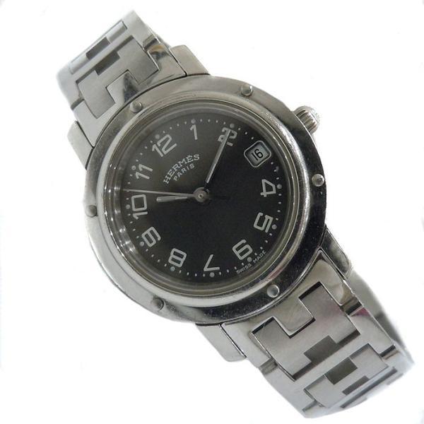 【中古】エルメス レディース腕時計 クリッパー SS クオーツ ブラック文字盤 CL4.210[wa]