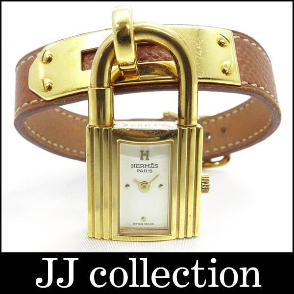 レディース腕時計 ケリーウォッチ GP/レザー クオーツ ブラウン×ゴールド ホワイト文字盤 □A刻印【06/0416@ra】|jjcollection2008