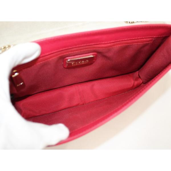 【中古】フルラ チェーン ショルダーバッグ メトロポリス レザー レッド jjcollection2008 09