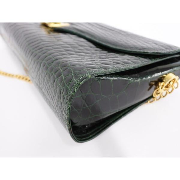 【中古】バリー チェーン ショルダーバッグ クロコ型押し レザー ブラック/グリーン