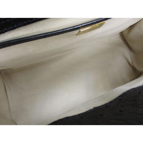 JARDIN DES SACS ジャルダンデサック ハンドバッグ オーストリッチ ブラック×ゴールド金具