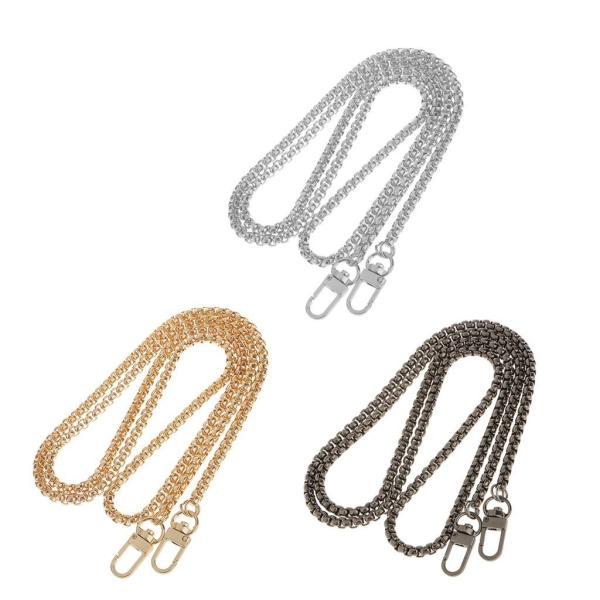 財布ハンドバッグショルダーバッグ交換用チェーンストラップハンドルベルト金属製120CM全3色選べるゴールドシルバーグレー