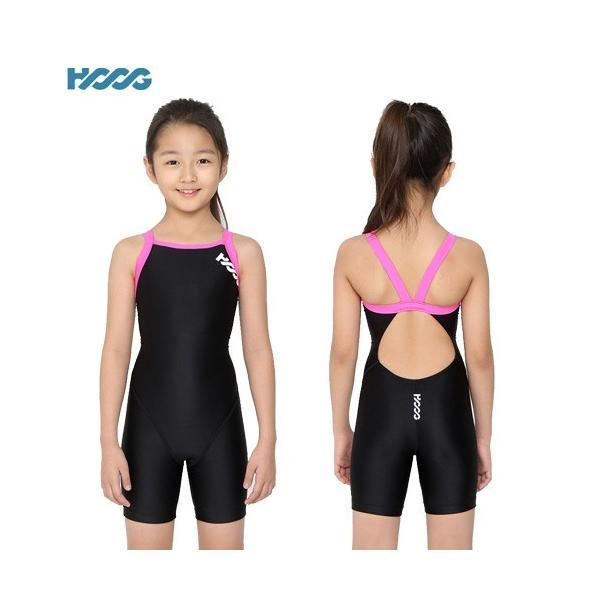競泳水着 ジュニア女子 練習用 HOOG フーグ GLA187 スクール水着 ハーフスパッツ 3分丈 X-back ゆうパケット送料無料