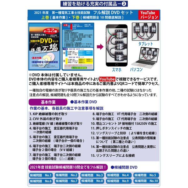 準備万端シリーズ (1回練習分) 平成30年度 第一種電気工事士 技能試験セット 練習用材料 全10問分の器具・電線セット|jmn-denki|06