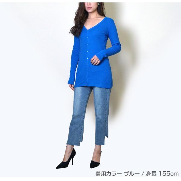 Tシャツ レディース Vネック ボタン コットン ロング 薄手 長袖 綿100% 無地 トップス シンプル UVカット JOCOSA 即納 8057 jocosa 03