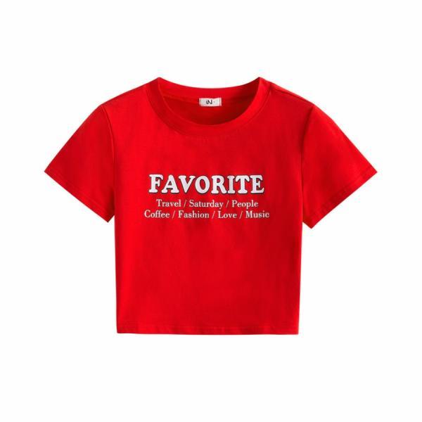 Tシャツ レディース 半袖 ロゴ へそ出し ショート丈 トップス 春 夏 秋 冬 薄手 カジュアル レッド ホワイト ラベンダー 赤 白 紫 JOCOSA 8952|jocosa|20