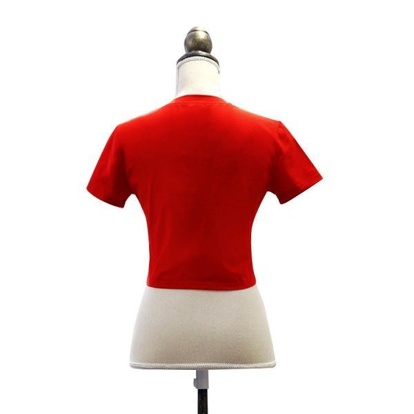 Tシャツ レディース 半袖 ロゴ へそ出し ショート丈 トップス 春 夏 秋 冬 薄手 カジュアル レッド ホワイト ラベンダー 赤 白 紫 JOCOSA 8952|jocosa|07