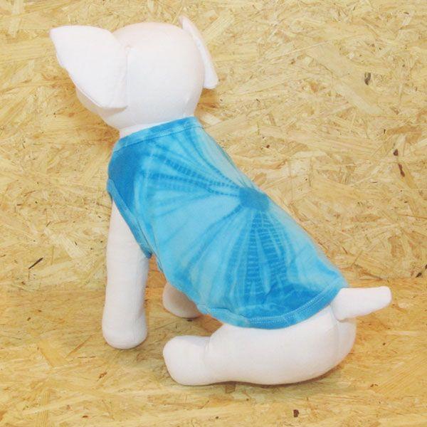 エスニック 民族系犬服 タイダイタンク ブルー 1号サイズ|johnlazz|02