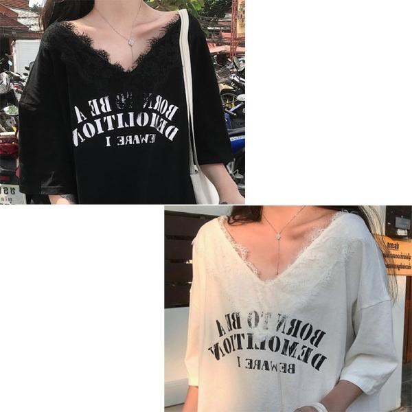 送料無料 Vネックレース付き ドルマン ゆったり Tシャツ 半袖 カジュアル 大きいサイズ カットソー レデイース 伸縮性あり|join|11