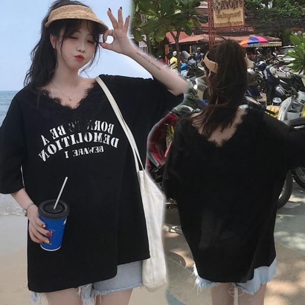 送料無料 Vネックレース付き ドルマン ゆったり Tシャツ 半袖 カジュアル 大きいサイズ カットソー レデイース 伸縮性あり|join|09