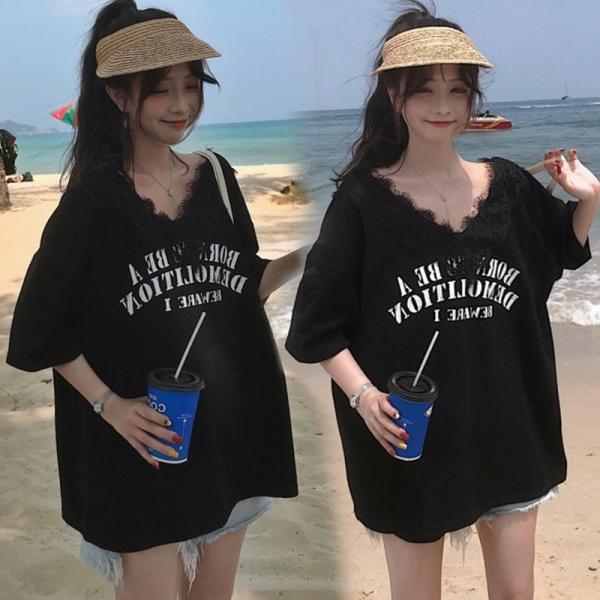 送料無料 Vネックレース付き ドルマン ゆったり Tシャツ 半袖 カジュアル 大きいサイズ カットソー レデイース 伸縮性あり|join|10