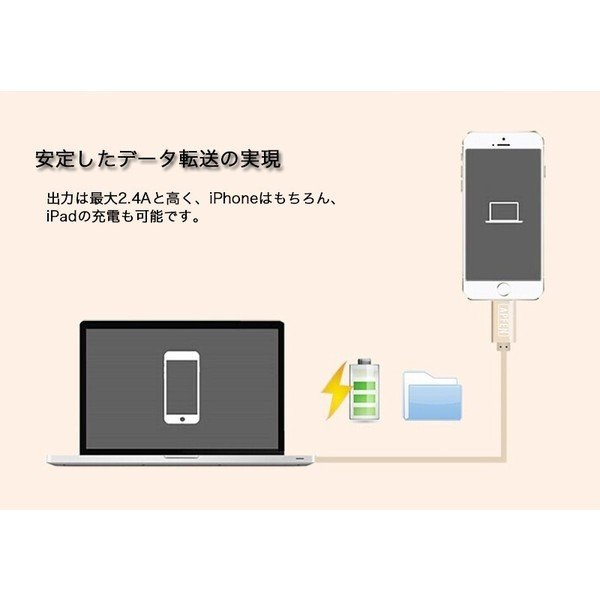 Lightning USBケーブル MFi取得品 ライトニングケーブル Apple認証 1m ナイロン製 アルミ端子 iPod iPhoneXS Max XR iPad 充電器 データ転送 USB Cable 純正|joliefille-ken|07