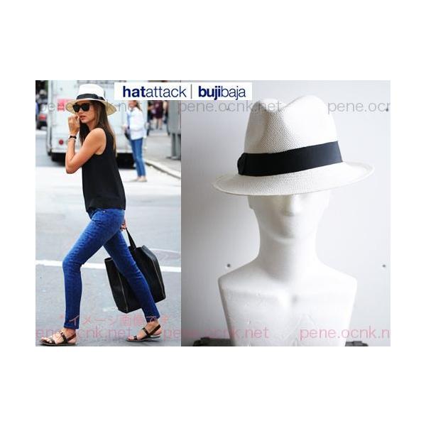 ハットアタック Orijinal Panama 中折れ帽子 パナマ帽 ストローハット ホワイト/黒リボン 新品!大特価