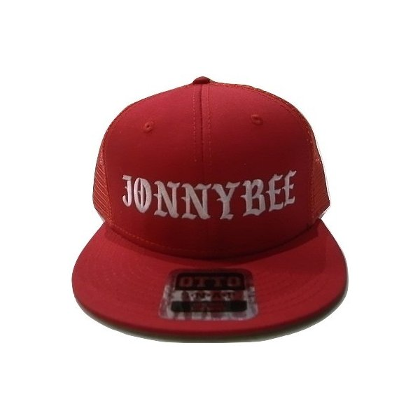 JONNY BEE ジョニービー オリジナル オールドイングリッシュロゴ 刺繍 メッシュキャップ 赤 レッド