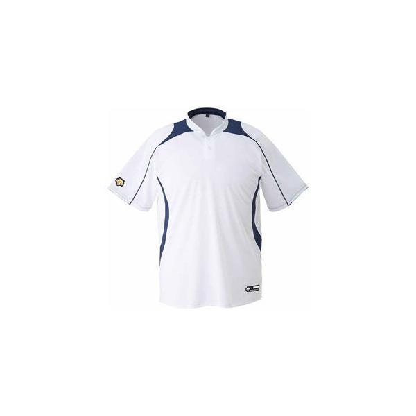 デサント ベースボールシャツ(SWNV・サイズ:XO) DESCENTE 立衿2ボタンベースボールシャツ プロモデル(レギュラーシルエット) DS-DB110B-SWNV-XO 返品種別A