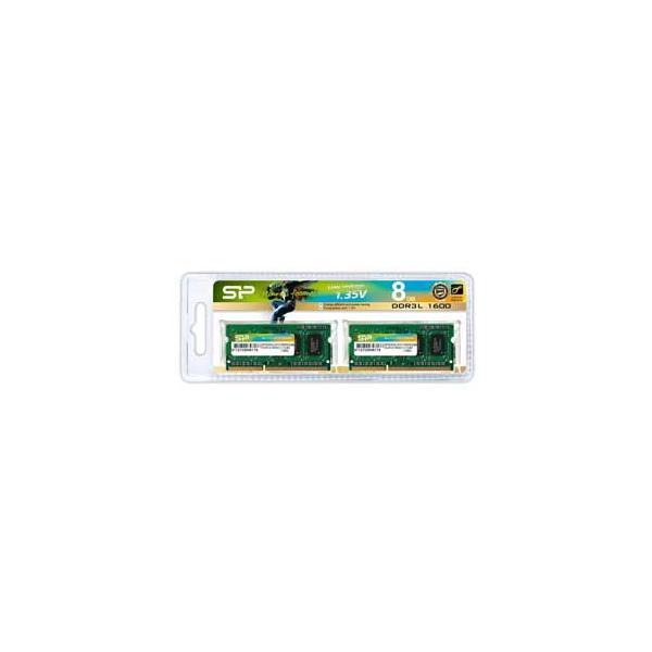 シリコンパワー PC3L-12800(DDR3L-1600)204pin DDR3 SDRAM S.O.DIMM 8GB(4GB×2枚) SP008GLSTU160N22 返品種別B