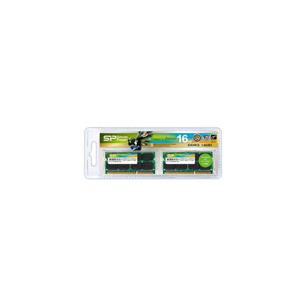 シリコンパワー PC3L-12800(DDR3L-1600)204pin DDR3 SDRAM S.O.DIMM 16GB(8GB×2枚) SP016GLSTU160N22 返品種別B