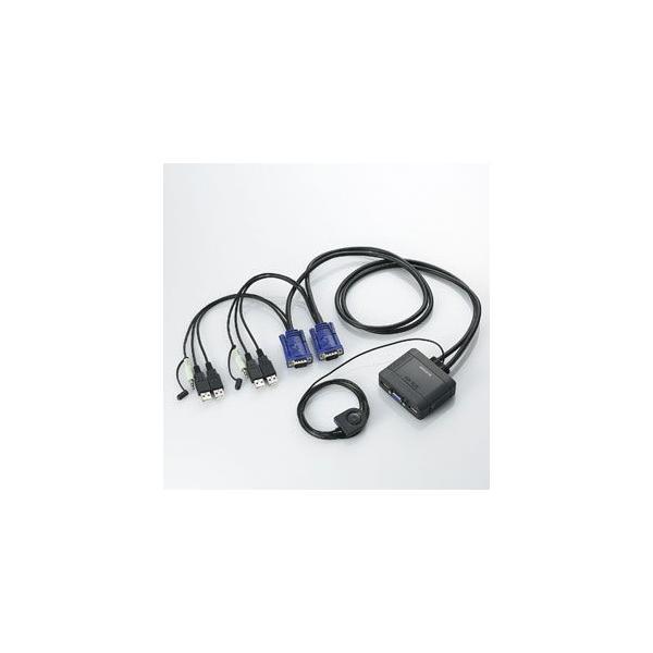 エレコム USBパソコン切替器 スピーカー出力切替対応 2切替 KVM-KUS 返品種別A
