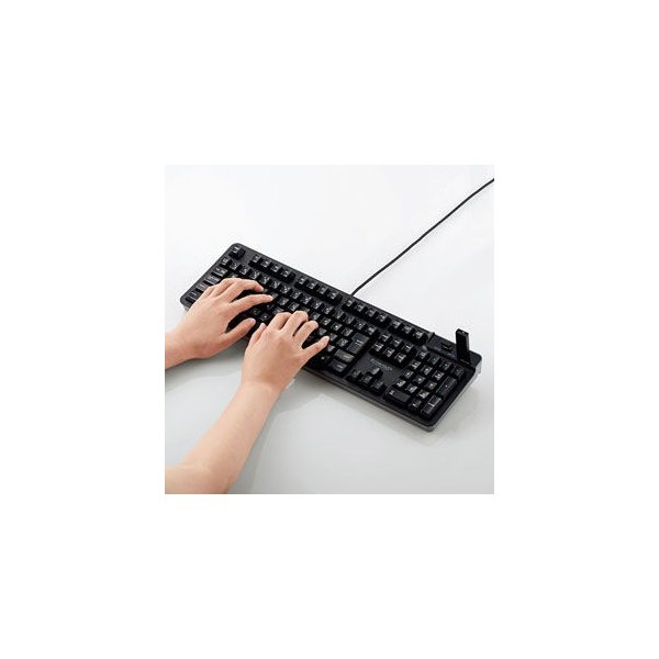 エレコム USBハブ付有線プレミアムメンブレンキーボード ELECOM TK-FCM094HBK 返品種別A|joshin|03