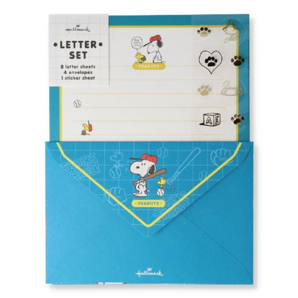 日本ホールマーク レターセット スヌーピー シール(ブルー ベースボール) 771676 返品種別A