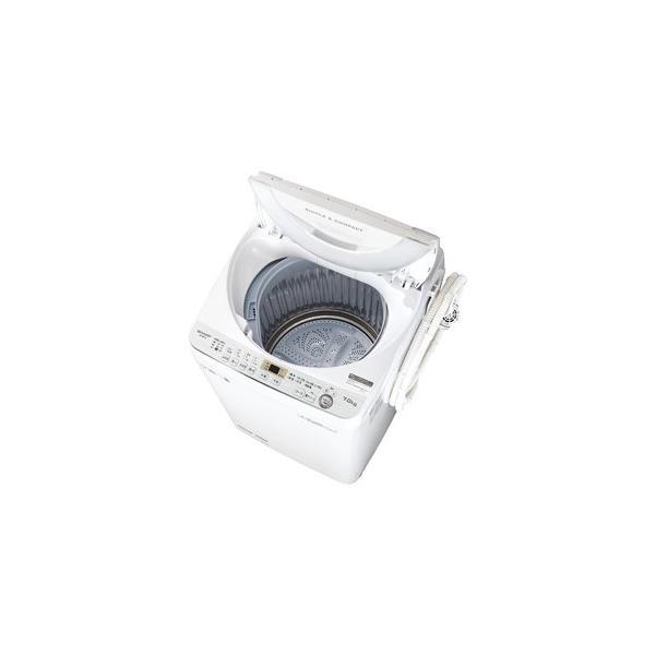 (標準設置 送料無料) シャープ 7.0kg 全自動洗濯機 ホワイト系 SHARP 穴なし槽 ES-GE7C-W 返品種別A|joshin|02