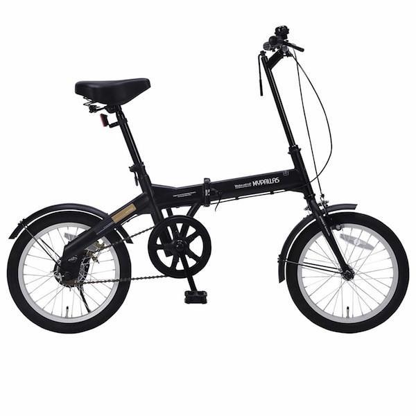軽自動車にも積める 新タイプ 折り畳み自転車 16インチ MyPallas マイパラス M-100 マットブラック色|joyfulgame