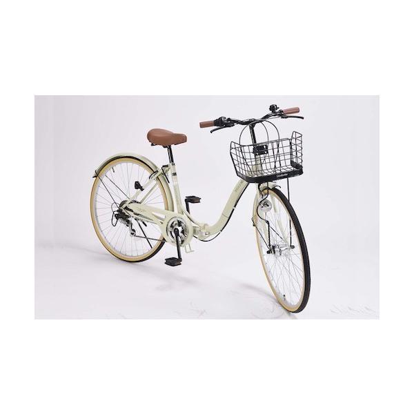26インチ折り畳み自転車軽量設計低床フレームマイパラス6段変速付きシティサイクルM-509PRINTEMPSアイボリー色M-50