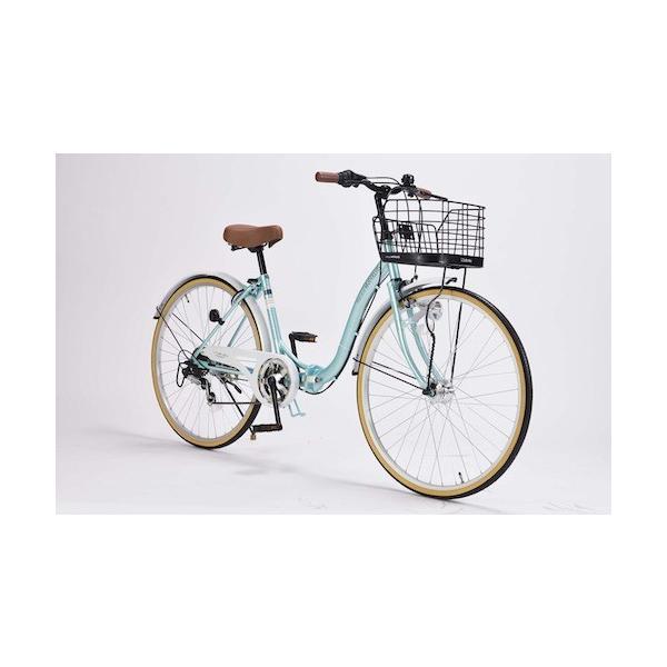 26インチ折り畳み自転車軽量設計低床フレームマイパラス6段変速付きシティサイクルM-509PRINTEMPSクールミント色M-5