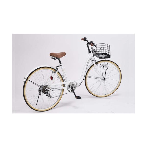 26インチ折り畳み自転車軽量設計低床フレームMyPallasマイパラス6段変速付きシティサイクルPRINTEMPSホワイト色M-