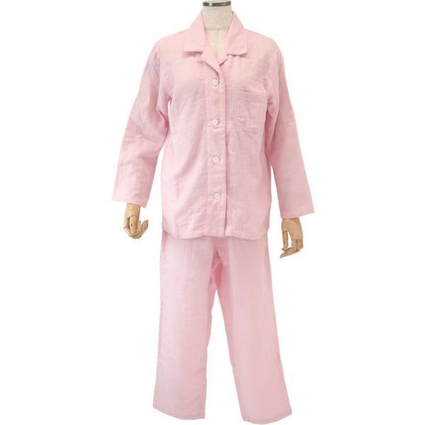 吸水性と保湿力のタオル・ガーゼ素材 ウチノ マシュマロガーゼ レディス パジャマ Lサイズ  ピンク RC15682LP|joyfulgame