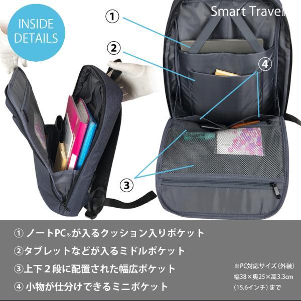 リュック ビジネスリュック バックパック メンズ 薄型 薄い スリム パソコン Smart Traveler スマートトラベラー|joysgarden|03