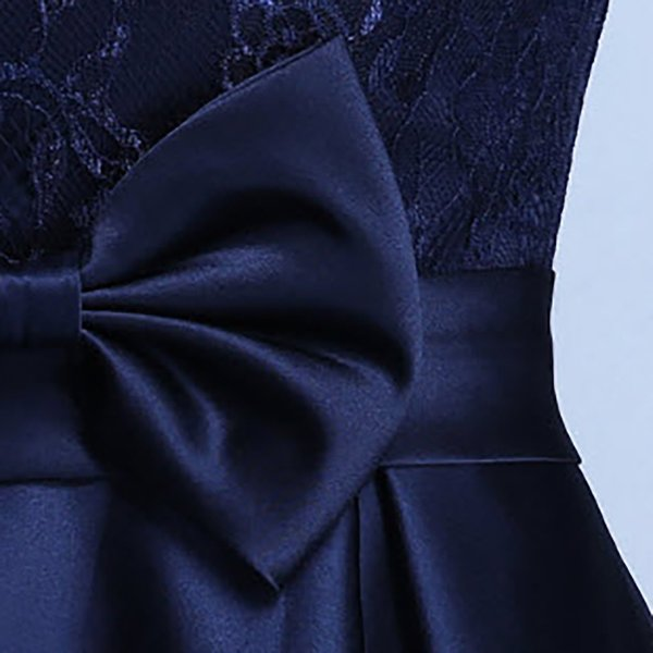 パーティードレス レディース ワンピース 安い 可愛い 結婚式 ワンピースドレス 花柄レース Aライン ウエストマーク レースチュール フロントリボン|jp-encore|11