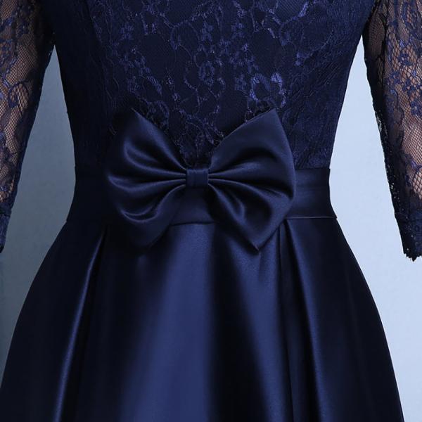 パーティードレス レディース ワンピース 安い 可愛い 結婚式 ワンピースドレス 花柄レース Aライン ウエストマーク レースチュール フロントリボン|jp-encore|10