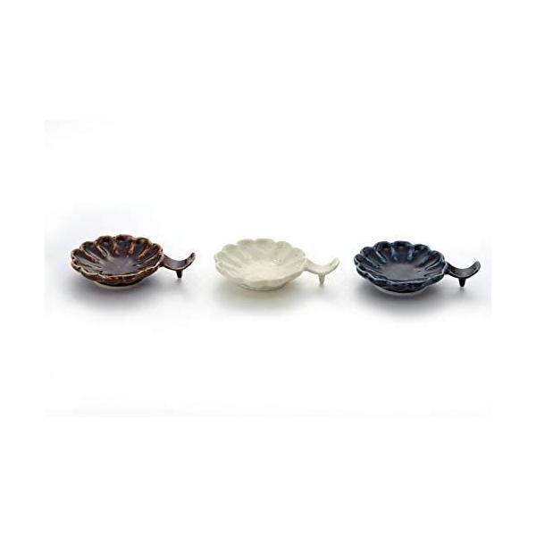 アイトー(Aito)小皿ネイビー・ブラウン・ホワイト約径8.5×幅11.5×高2.3cm美濃焼花形箸置き小皿(3色組)