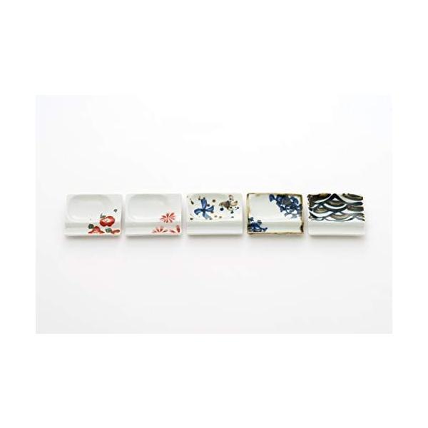 アイトー(Aito)小皿ホワイト約奥7.0×幅8.0×高1.3cm美濃焼便利な箸置き小皿(5柄組)白赤青黒