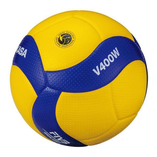ミカサ お取り寄せ バレーボール4号 検定球 中学 家庭婦人 (ネーム可) イエロー×ブルー V400W