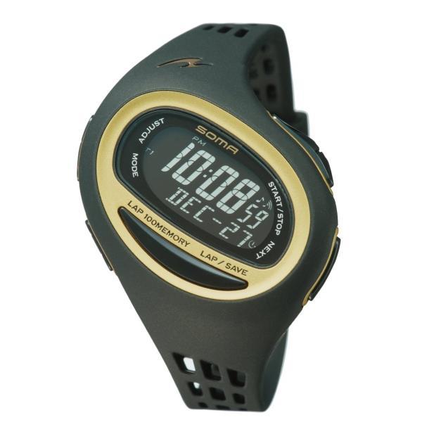 SOMA(ソーマ) ランニングウォッチ RunONE 100SL ランワン100SL NS09006 ブラック×ゴールド MEDIUM|jpowerclub