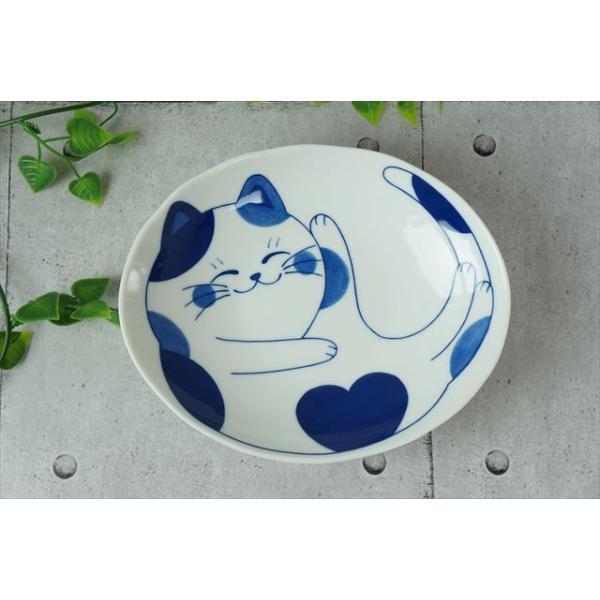 ねこちぐら ミケ 19.5×16cm 60楕円深皿 カレー皿 パスタ皿 子供 丸 ボウル 鉢 美濃焼 国産 日本製 陶器 猫 ネコ ねこ 猫柄 ネコ柄 食器 お子様 キッズ|js-kikaku|02