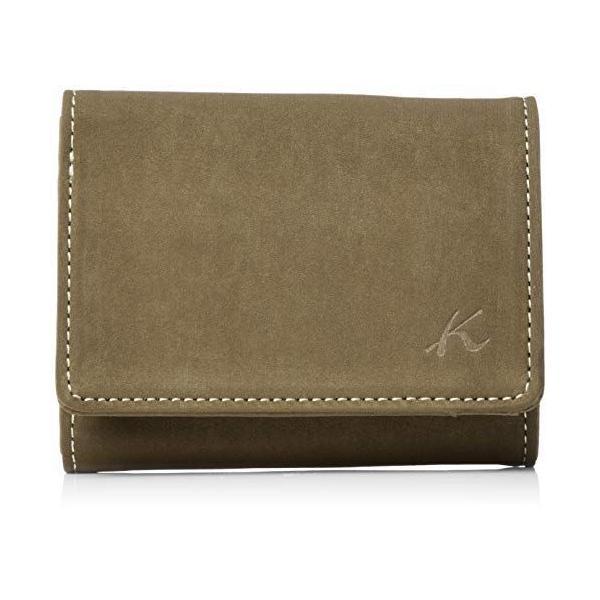 キタムラ 三折財布(札入れ)スエードのような風合いPH0669カーキ/ベージュステッチ 緑 33501
