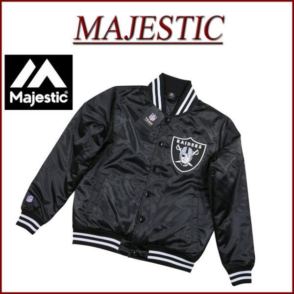 82d9d98bcbbbb MAJESTIC マジェスティック NFL オークランド レイダース サテン スタジャン ...