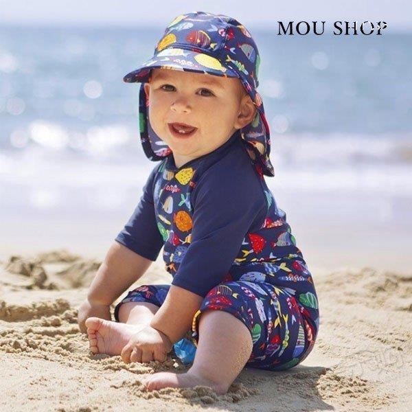 子供用水着 男の子 ベビー ロンパース オールインワン 水泳帽付き 魚柄 五分袖 可愛い ジュニア みずぎ 温泉 五分袖 スイムウェア 紫外線対策 日焼け止め