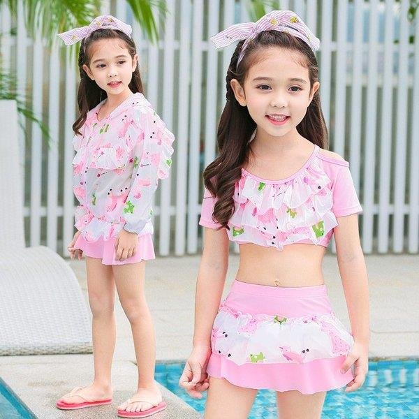 水着 子供水着 女の子 3点セット セパレート 韓国風 体型カバー キャミ バンドゥビキニ 可愛い 紫外線カット ビーチ ミズギ速乾キッズ用 夏新品