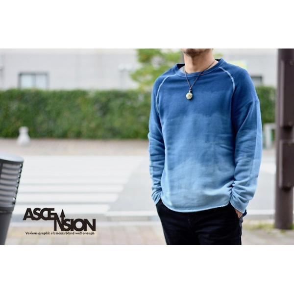ASCENSION(アセンション)INDIGO CUTOFF SWEAT 藍染めグラーデーション as-741|juice16