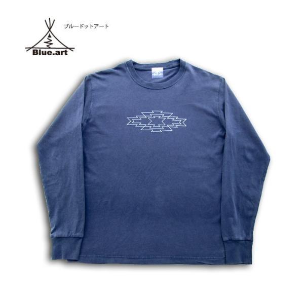 Blue.art(ブルードットアート)Blue.art(ブルードットアート)ネイティヴグラフィック ピグメントダイロングTシャツ ba-071|juice16